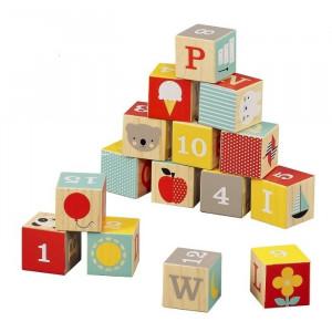 Set de construit 15 piese din lemn ABC Petit Collage
