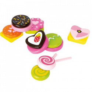 Set de joaca 14 piese din lemn de pin Sweets Small Foot