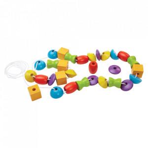 Set de joaca 30 piese multicolor din lemn Lancing Beads Plan Toys