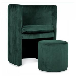 Set fotoliu si taburet verde din poliester si lemn Raphael Mint Opjet Paris