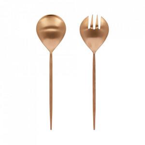 Set lingura si furculita roz/aurii din inox pentru salata Kelda Kave Home