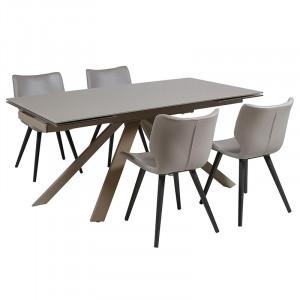 Set masa dining extensibila cu 4 scaune din aluminiu Plu Santiago Pons