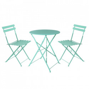 Set masuta si 2 scaune pliabile turcoaz din otel pentru exterior Terrace Sira Unimasa