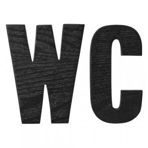 """Set semne din lemn pentru baie """"WC"""" negru Bloomingville"""