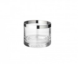 Suport argintiu/transparent din sticla cristal pentru lumanare 6 cm Molly Edzard
