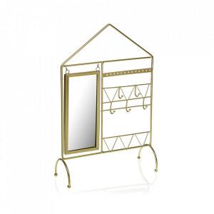 Suport auriu cu oglinda din metal pentru accesorii 39 cm Jewelry Holder Versa Home