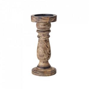 Suport lumanare maro din lemn de mango 21 cm Azzeli Bloomingville