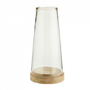 Suport lumanare maro/transparent din sticla si lemn de mango 30 cm Hurriane Madam Stoltz
