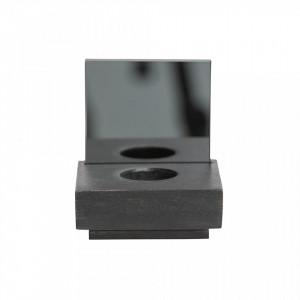 Suport lumanare negru din lemn si sticla 12 cm Janne Black Woood