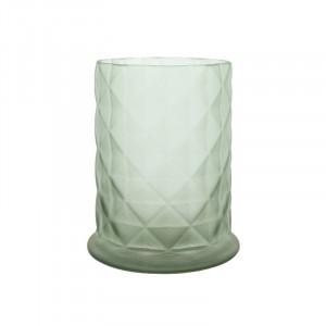 Suport lumanare verde din sticla 17 cm Moswen Lifestyle Home Collection
