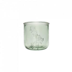 Suport lumanare verde din sticla 9 cm Tealight Green Hubsch