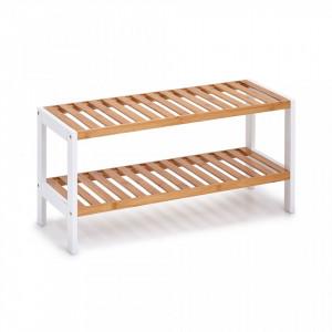 Suport maro/alb din lemn si MDF pentru incaltaminte Shoe Rack Bamboo Zeller