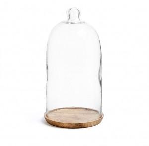 Suport maro din lemn si sticla pentru lumanare 30 cm Cowalll Kave Home