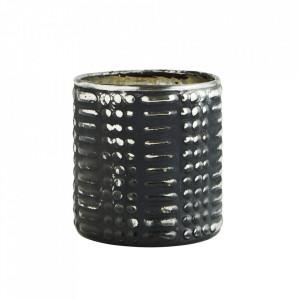 Suport negru din sticla pentru lumanare 8 cm Trieste Madam Stoltz