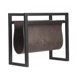 Suport negru/gri antracit din metal si piele pentru reviste Basska LABEL51