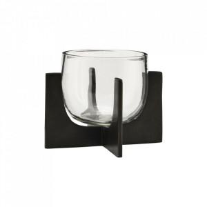 Suport negru/transparent din fier si sticla pentru lumanare 12,5 cm Gravity House Doctor