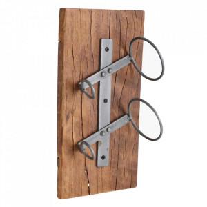 Suport perete pentru sticle din lemn de tec si fier Wine Raw Materials