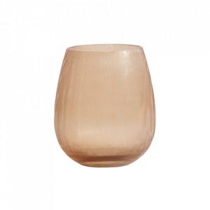 Suport roz piersica din sticla pentru lumanare 12 cm Dana Nordal