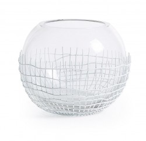 Suport transparent din sticla pentru lumanare 17 cm Anid La Forma