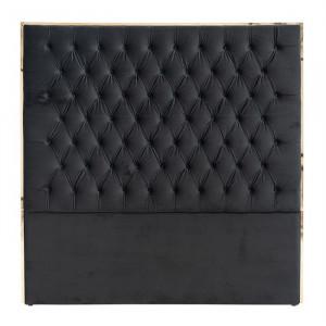 Tablie pat neagra/aurie din catifea si inox 180 cm Lowell Richmond Interiors