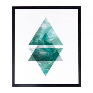 Tablou alb/verde din MDF si polistiren 25x30 cm Triangles Somcasa