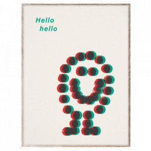 Tablou cu rama din lemn de stejar 30x40 cm Hello Hello Green Paper Collective