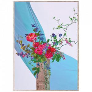 Tablou cu rama din lemn de stejar Bloom 05-Turquoise Paper Collective