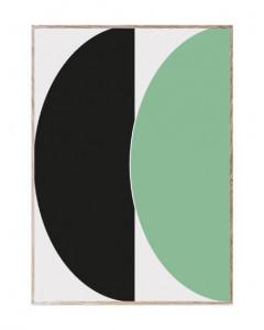 Tablou cu rama din lemn de stejar Half Circles Green/Blue Paper Collective