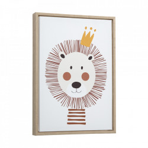 Tablou multicolor din canvas si MDF 30x42 cm Lion Uriana Kave Home
