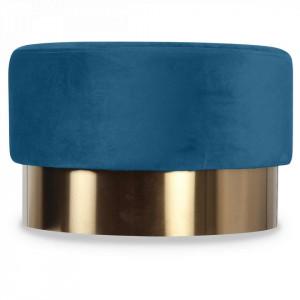 Taburet albastru din catifea cu baza aurie din metal 55x35 Serge Opjet Paris
