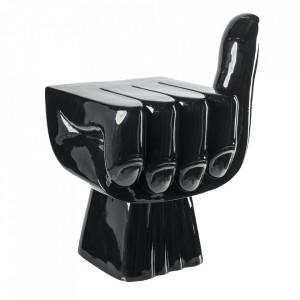 Taburet decorativ negru din poliester lacuit Fist Pols Potten
