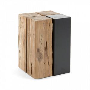 Taburet patrat din lemn tec si metal 30x30 cm Ognak La Forma
