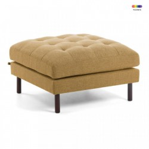 Taburet patrat galben mustar din textil si lemn 80x80 cm Bogart La Forma