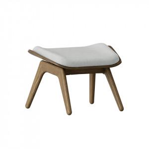 Taburet pentru picioare dreptunghiular gri argintiu/maro inchis din poliester si lemn 46x60 cm The Reader Umage
