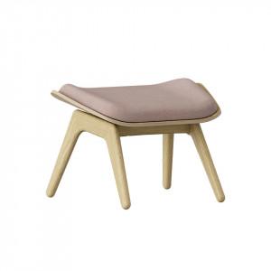 Taburet pentru picioare dreptunghiular roz prafuit/maro stejar din poliester si lemn 46x60 cm The Reader Umage