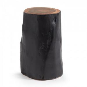 Taburet rotund negru din lemn 30 cm Homey La Forma