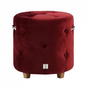 Taburet rotund rosu burgund din catifea si lemn 43 cm Bowery Riviera Maison