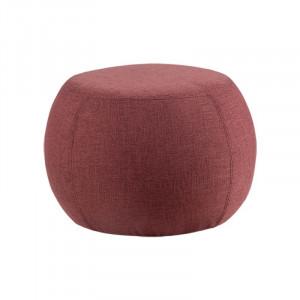 Taburet rotund rosu din lemn si textil 55 cm Luka Burgundy Somcasa