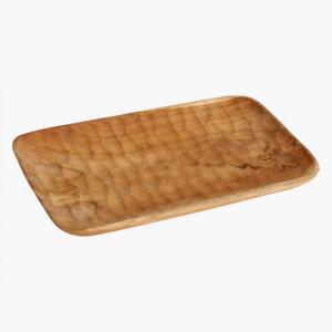 Tava decorativa dreptunghiulara maro din lemn de tec 24x36 cm Aeolian Raw Materials