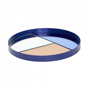 Tava rotunda albastra/roz din metal si sticla 35 cm Mirror Tray Hubsch