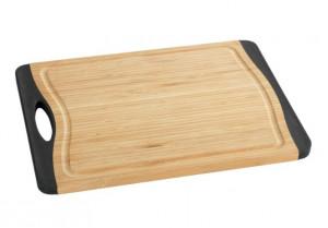 Tocator dreptunghiular maro/negru din lemn si plastic 28x39,5 cm Bamboo Board Maxi Wenko