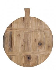 Tocator rotund din lemn de tec cu maner 50 cm HK Living