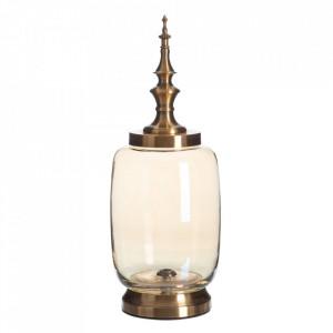 Vas decorativ maro din metal si sticla 49 cm Tibor Ixia