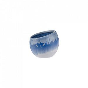 Vaza alba/albastra din ceramica 7,4 cm Storto Mini Bolia