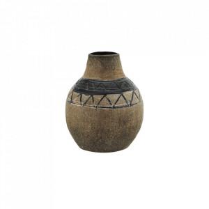 Vaza decorativa maro/neagra din teracota 12 cm Lisa Madam Stoltz