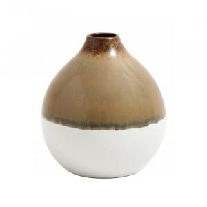 Vaza maro/alba din ceramica 11 cm Lara Round Nordal