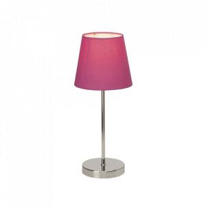 Veioza argintie/roz din metal si textil 40,5 cm Kasha Brilliant