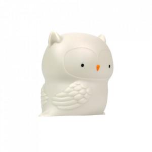 Veioza gri din PVC cu LED 11 cm Owl A Little Lovely Company