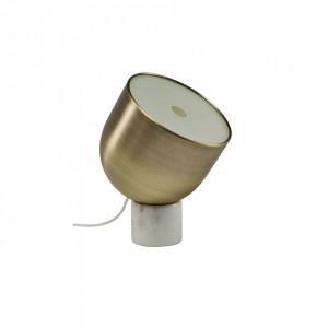 Veioza maro alama/alba din otel si marmura 32 cm Faro Mini Brass White Bolia