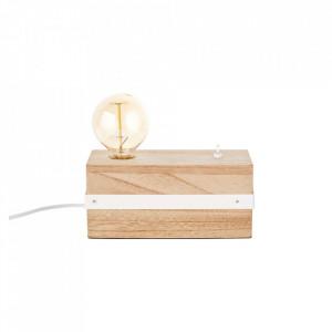 Veioza maro/alba din metal si lemn 12 cm White Wood Brilliant